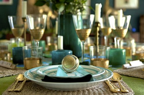 teal and brass entertaining party styled by @emily henderson using our Gold Chisel glassware!