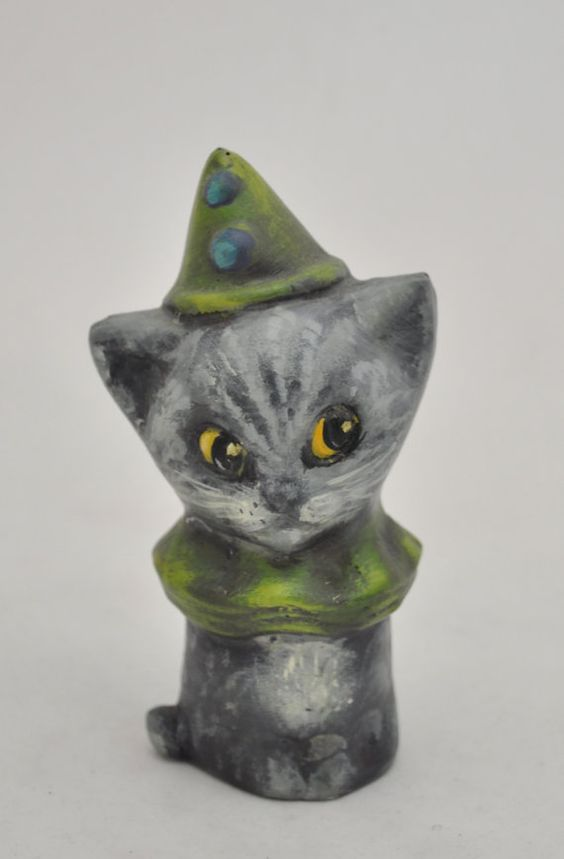 Chalkware Cat green collar and hat by folkhearts on Etsy, $29.00
