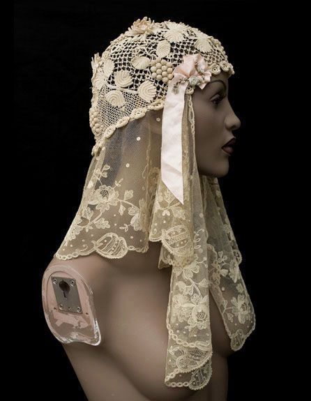 Mixed lace wedding cap, 1920s, from the Vintage Textile archives.: