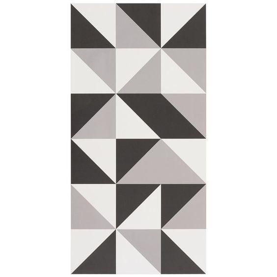 Exemplo de porcelanato com desenhos geométricos  Revestimentos  Pinterest  -> Decoracao De Banheiro Com Revestimento Preto E Branco