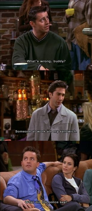 Joey: What's wrong, buddy? Ross: Someone at work ate my sandwich. Chandler: What did the police say? Friends TV show quotes: