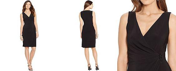 American Living Faux-Wrap Surplice Dress