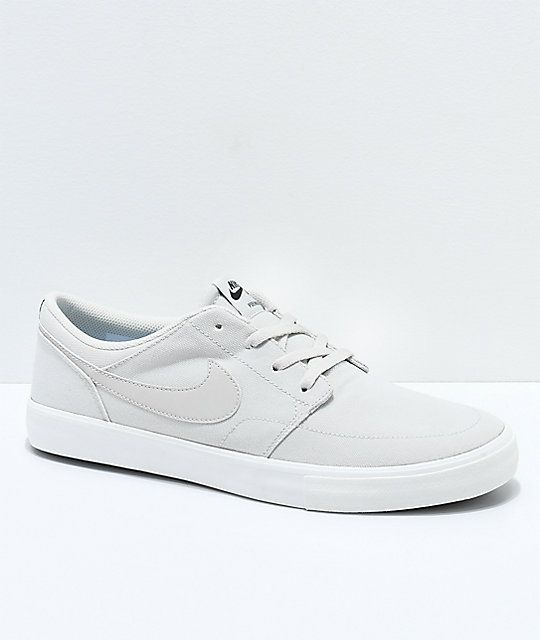 most popular wholesale where to buy Nike SB Portmore II Summit White Canvas Skate Shoes ...