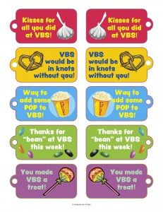 VBS Volunteer Thank You Candy/Snack Tags! | Printables ...