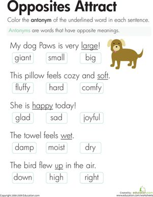 Worksheet Phonics Worksheets For Second Grade opposites attract worksheets and opposite words on pinterest