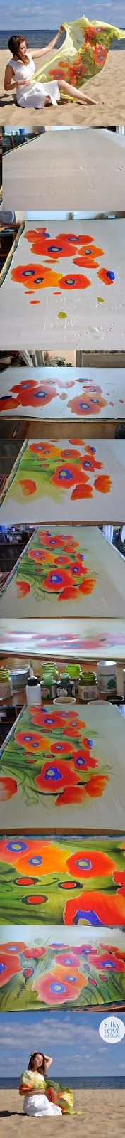 How I paint my poppies on a large silk scarf !!