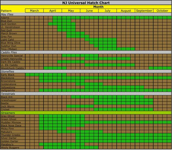 Nj hatch chart fly fishing pinterest for Hatch fly fishing