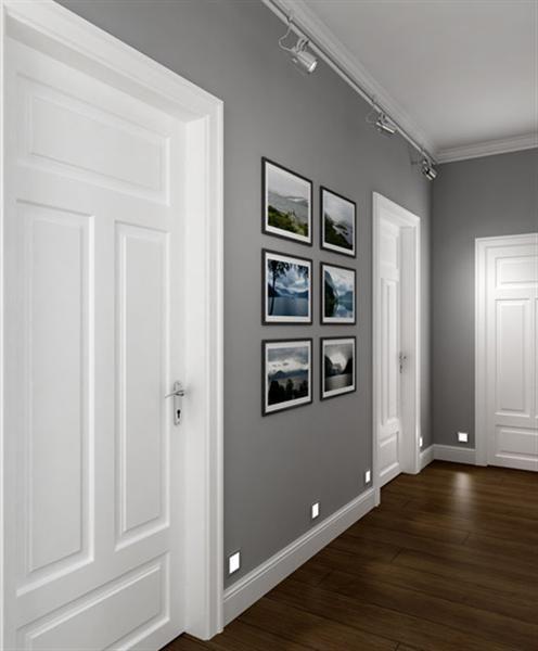 Grey Wall Color perfect corridor, grey walls, white doors, dark wooden floor