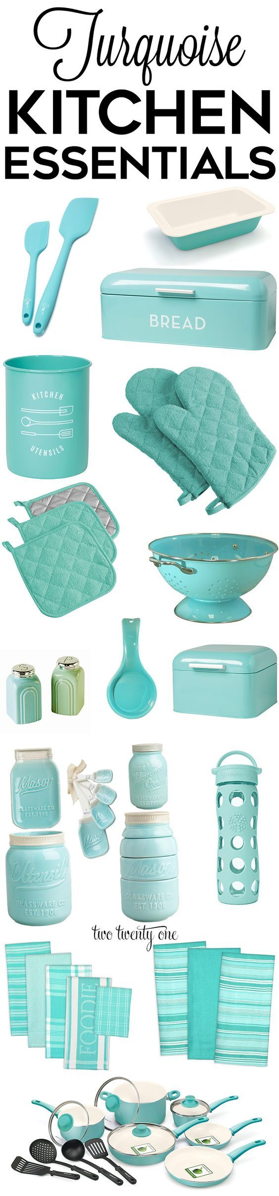 Turquoise kitchen decor, appliances, and gadgets!