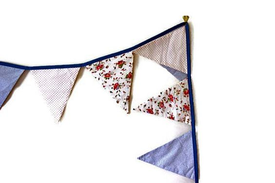 Red White and Blue Fabric Banner Polka Dots by VintageRingo, $18.00