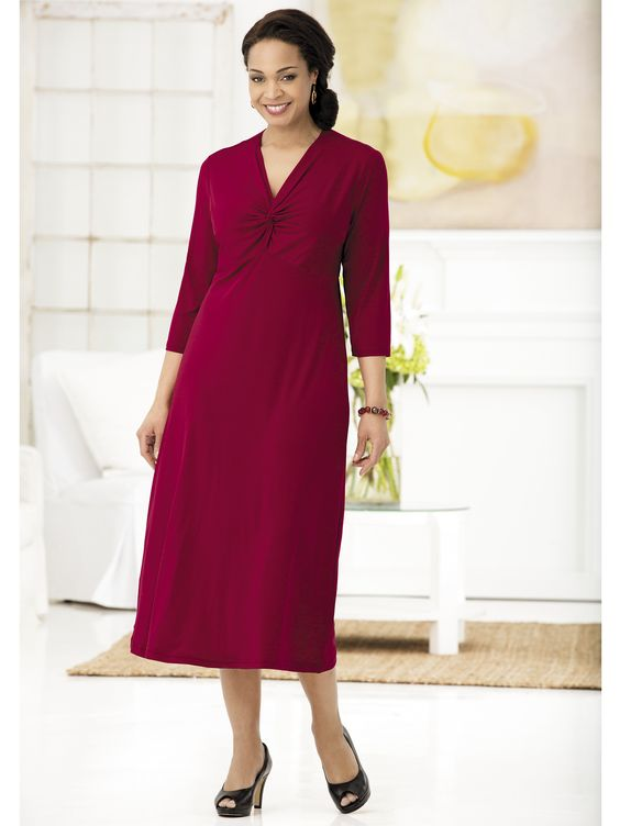 Matte Jersey Twist-neck Empire Dress  Only $60 at One Stop Plus, a little long but with alteration of hemming and red books...WOW