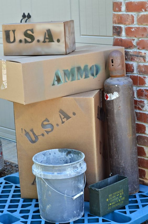 """Call of Duty Birthday Ideas. We made """"covers"""" with pieces of plywood and stacked boxes in front of them that said USA or AMMO on them and then covered them with some brush we cut down in the woods. These """"covers"""" were all over the yard and throughout the woods."""