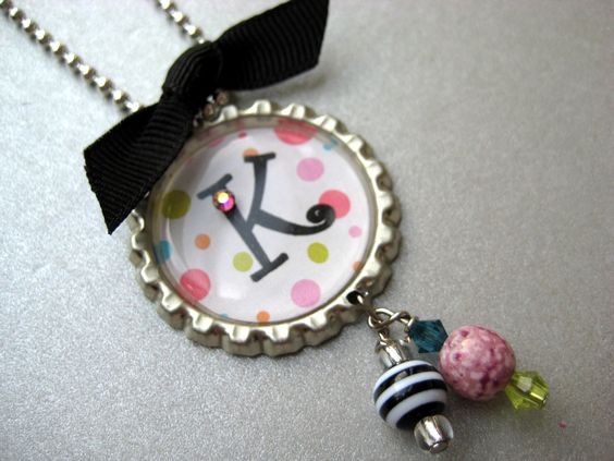 bottle cap jewelry | Colorful Dot Initial Bottle Cap Necklace by buttonit on Etsy
