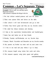 Comma Worksheet: Read each sentence. Add commas to separate the ...