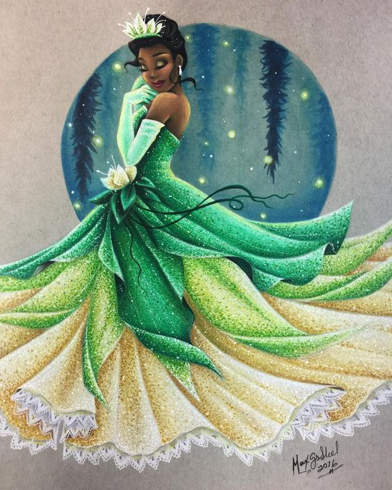 """Dreams do come true in New Orleans."" Definitely a place I've always wanted to visit ❤️ I had such a fun time coloring this!!! I am completely obsessed with these green shades and If they weren't such a challenge to blend with, I would use them all the time!! I'm so happy I redid my wedding gown Tiana, it's crazy to see how you can improve with technique and with different mediums. I hope you all enjoy this one!! It's turning into one of my favorites!! ❤️❤️ #Tiana #princessandthefrog #dreamsd...:"