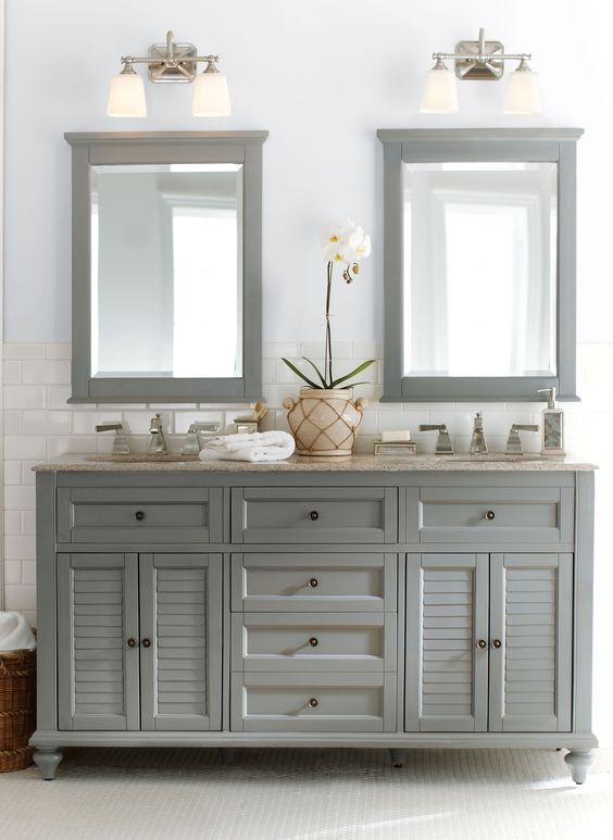 Gorgeous in grey. Double the fun, this bath vanity is a master bath must. HomeDecorators.com: