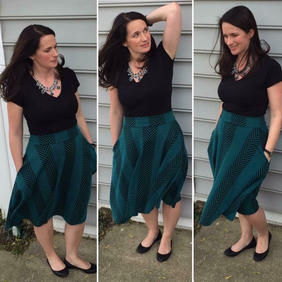 A&D striped green midi with pockets