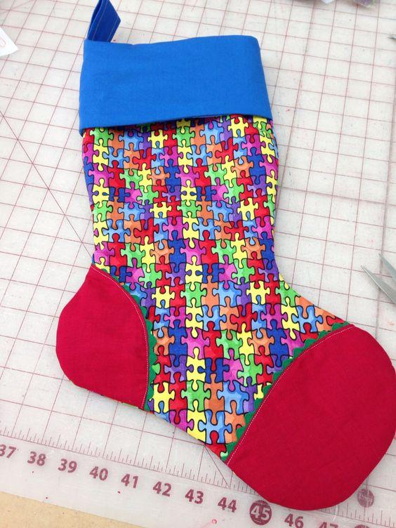 Autism puzzle theme stocking. Ricrac detailing.