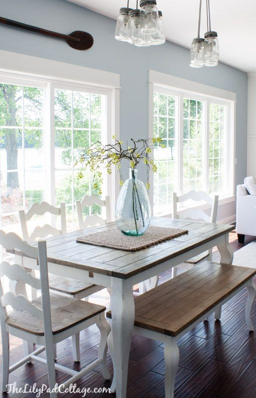 Summer Home Tour - The Lilypad Cottage; color and simplicity for breakfast nook.