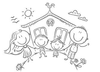 Happy Family With Two Kids Near Their House Outline Drawing Spon Kids Family Happy Draw In 2020 Family Drawing Outline Drawings Family Drawing Illustration