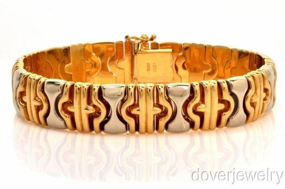 Italian 18K Gold Wide Bracelet 38.1 Grams NR