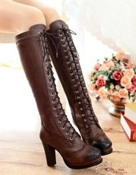Online Shop Free shipping over knee natrual real genuine leather high heel boots women snow winter warm shoes CooLcept R1510 EUR size 34-39|Aliexpress Mobile