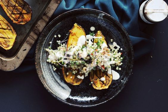 TURMERIC-SPICED EGGPLANT WITH ISRAELICOUSCOUS fingerforkknife.com