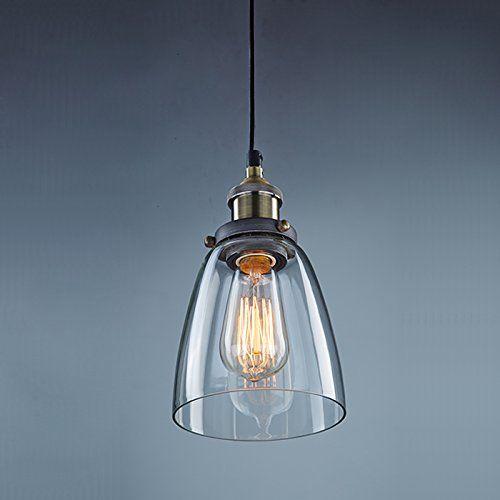 YOBO Lighting Industrial Edison 1 Light Iron Body Glass Shade Loft Coffee  Bar Kitchen Hanging Pendant
