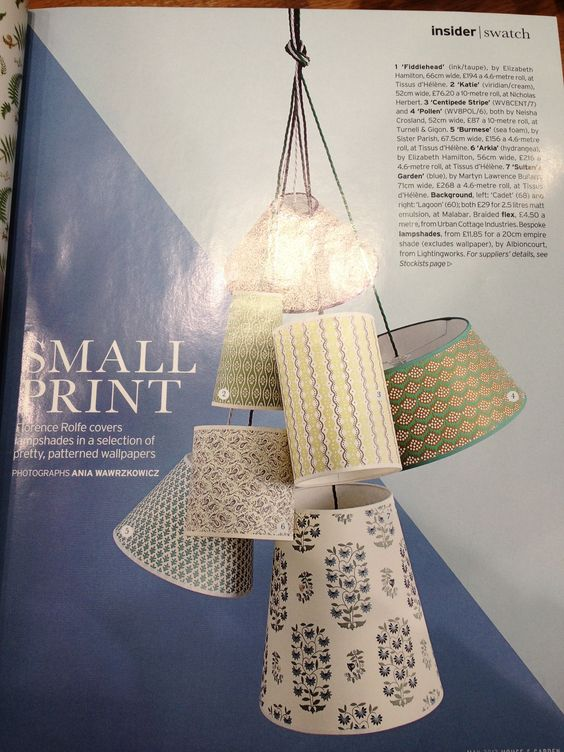 Wallpaper used for Lampshades from House and Garden magazine May 2013 edition