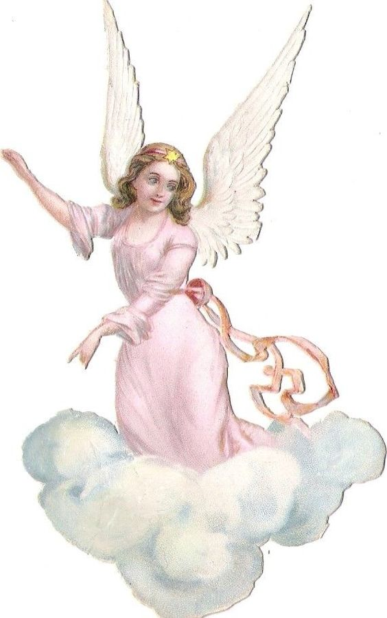 Oblaten Glanzbild scrap die cut chromo Engel angel cherub Wolke cloud: