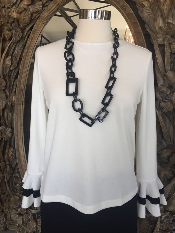 White Bell Sleeve Blouse with Black trim on cuff