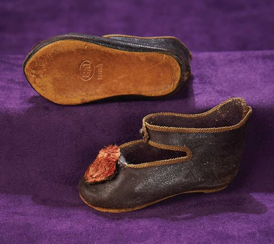 French Bisque Bebe Shoes for E.J.,Size 11. Circa 1885. http://Theriaults.com