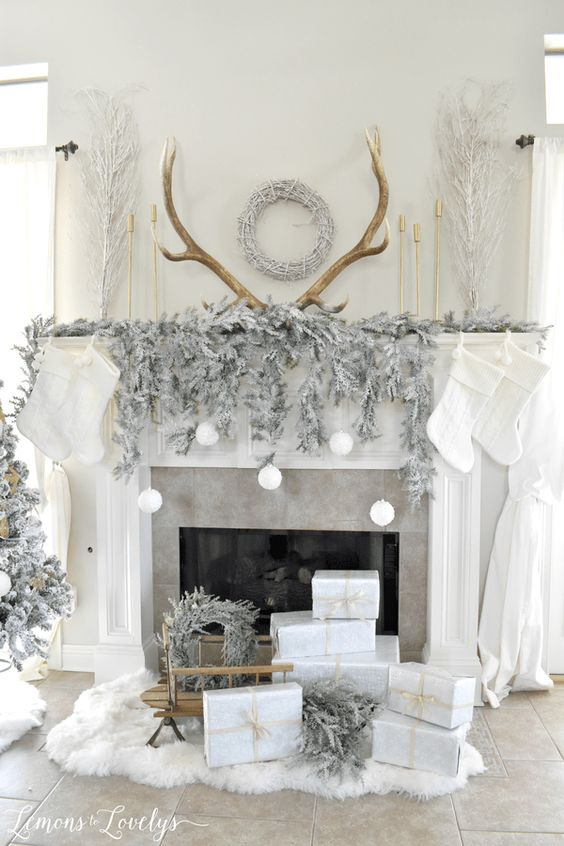 Warm And Cozy Corner Mantle Christmas Decor. Reindeer White inspired Rustic Christmas Decor Ideas perfect for any apartment or house!