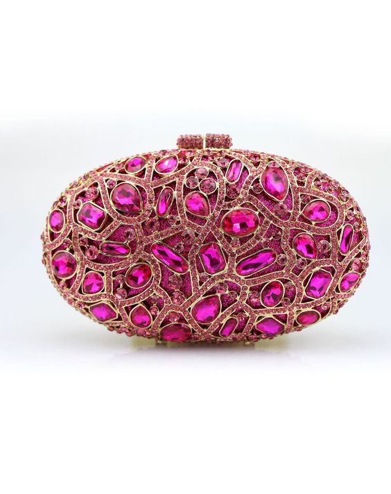 #AdoreWe #VIPme Clutches - CAIYUE Fuchsia Elegant CZ Crystal Studded Hollow Out Magnet Lock Clutches - AdoreWe.com