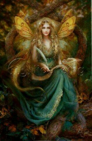 Green and gold faerie