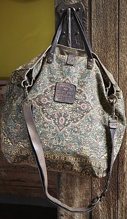 Siena Bag - Stunning canvas tote bag printed all over with a Persian rug pattern. Dark brown waxy leather handles. Antiqued brass hardware on straps. Complete with detachable cross-body strap. By Campomaggi, Italy. W40cm H40cm D15cm Handle drop 17cm.