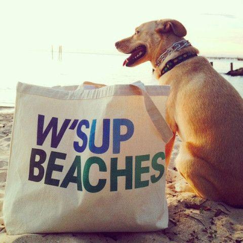 W'sup Beaches Custom Big Beach Cotton Canvas Tote Bag