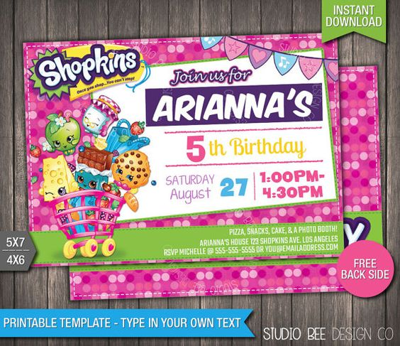 Shopkins Birthday Invitation - INSTANT DOWNLOAD - Printable ...