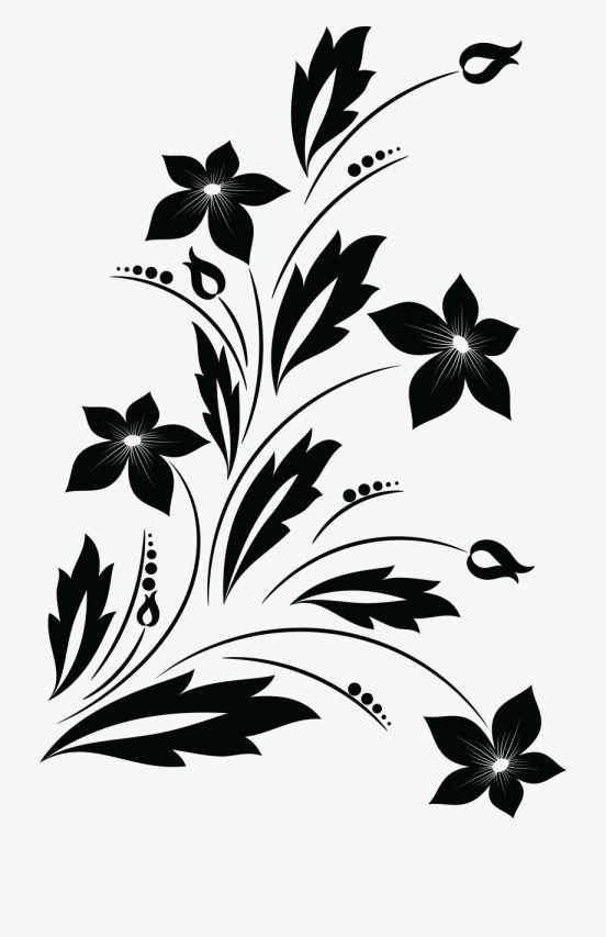 15 Flower Black And White Design Png Flower Silhouette Flower Clipart Png Flower Border Clipart