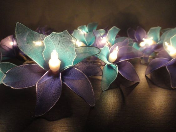 Green Flower String Lights : Battery or Plug 20 BluePurple Orchid Flower Fairy String Lights Accent Floral Party Patio ...