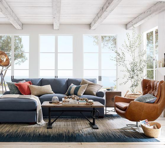 Wells Leather Swivel Armchair Potterybarn Tan Furniture Living Room Living Room Designs Home Living Room