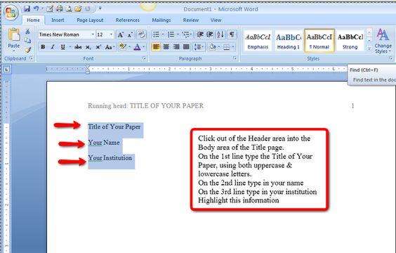 apa format with no title page - Pinarkubkireklamowe