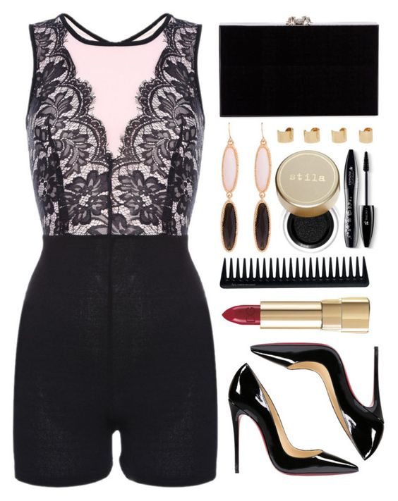 """Friday night"" by simona-altobelli ❤ liked on Polyvore featuring Christian Louboutin, Charlotte Olympia, Maison Margiela, Stila, Lancôme, Dolce&Gabbana and GHD:"