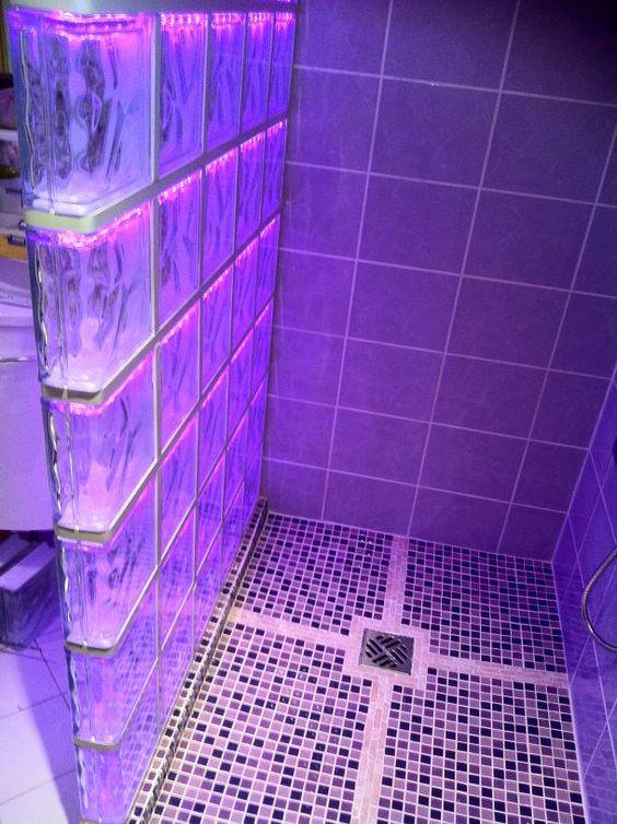 brique de verre  salle de bain  Pinterest