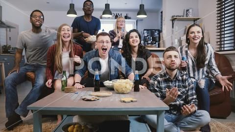 Friends Watch Sports On Tv Celebrate Success Crazy Football Supporters Fans Premium Photo 90599009