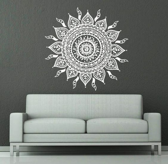 Wall Decal Vinyl Sticker Decals Art Home Decor Mural Mandala Ornament Indian Geometric Moroccan Pattern Yoga Namaste Lotus Flower Om AN700