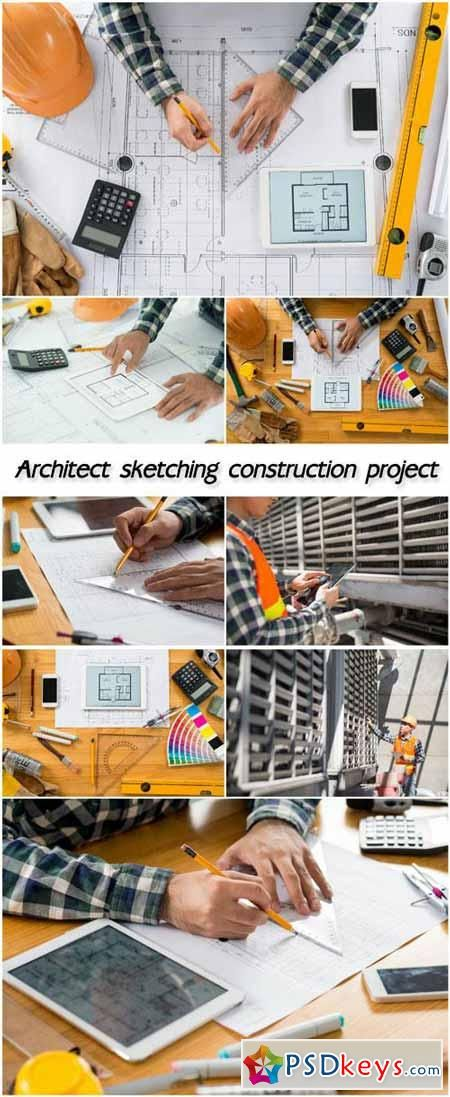 Architect sketching construction project 117 MB