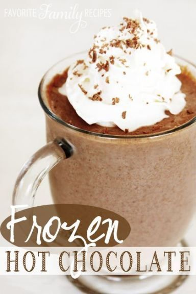 Frozen Hot Chocolate - I LOVE Frozen hot chocolate. In my high school years I loved walking up to our local Dairy Queen and getting these with my friends (everything was pretty much walking-distance where we grew up). So many fond memories. In my opinion this tastes best in either a frosted mug or a styrofoam cup. If you want to make it more like a frozen hot chocolate shake, add more milk and a scoop of chocolate ice cream… yum!