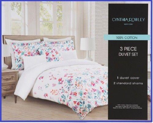 Cynthia Rowley 3 Pce Cotton Mischa Duvet Cover Set Queen Bright Floral Queen New Cynthiarowley Dorm Room Bedding Duvet Cover Sets Duvet Covers