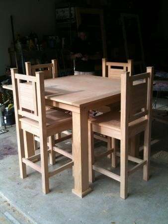 This person used Ana White's free plans for a Pub Style Table and Vintage Bar Stools for this project.